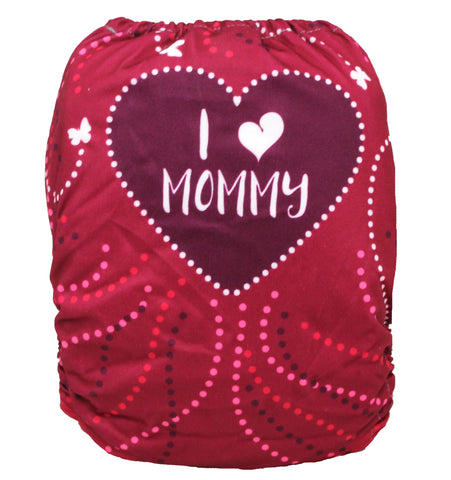 "Fluffy Penguin Pocket ""Pink I Love Mommy"""