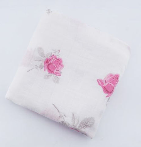 "Bamboo/Cotton Muslin Blanket ""Pink Roses"""