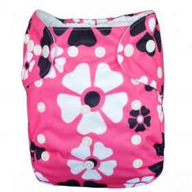 "Alva Pocket ""Pink with Black Flowers"""