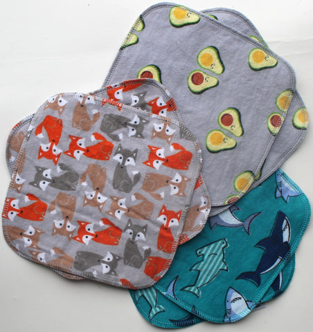 "Cotton Flannel Cloth Wipes 6-pack ""Pointy"""