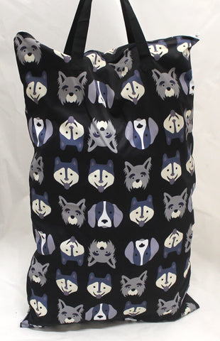 "Single Zipper Hanging Wetbag - ""Puppy Faces"""