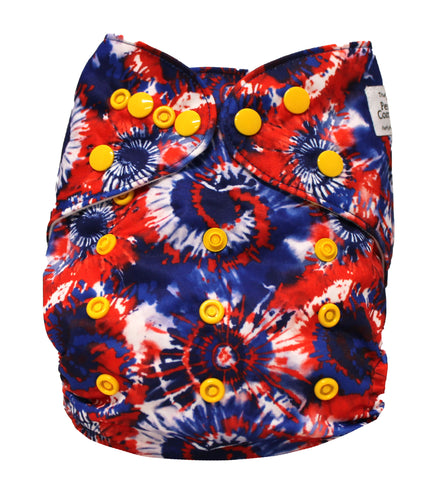 "Fluffy Penguin Pocket ""Red White and Blue Tie Dye"""