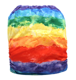 "Fluffy Penguin Pocket ""Watercolor Rainbow Stripes"""