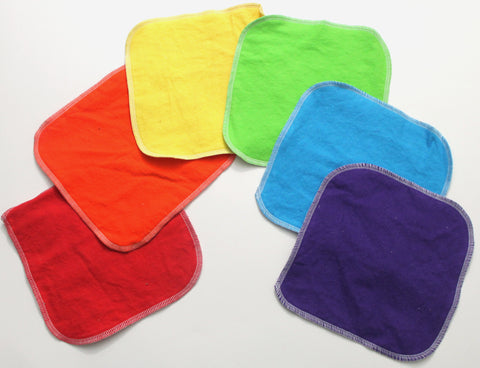"Cotton Flannel Cloth Wipes 6-pack ""Rainbow"""