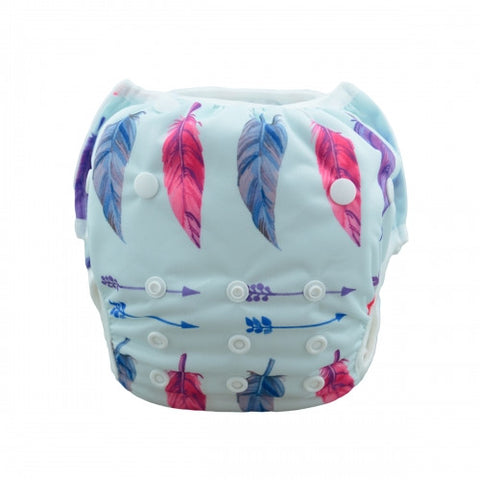 "Alva Swim Diaper ""Feathers on Blue"""