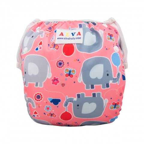 "Alva Swim Diaper ""Pink Elephants"""