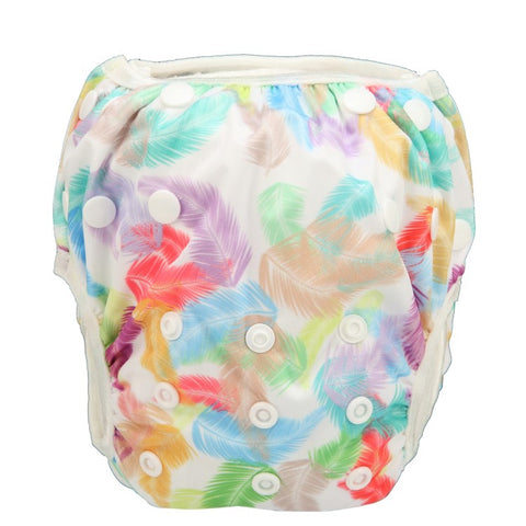 "Sigzagor Swim Diaper ""Rainbow Feathers"""