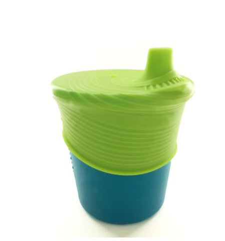 "Silikids 8oz Silicone Sippy Cup ""Storm and Lime"""