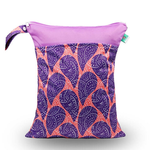 "Elinfant Travel Wetbag - ""Two-Tone Peach & Purple Paisley"""