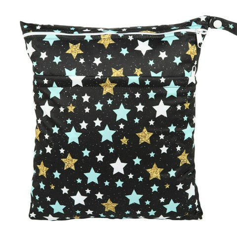 "Sigzagor Travel Wetbag - ""Blue and Gold Stars"""