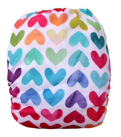 "Fluffy Penguin Pocket ""Watercolor Hearts"""