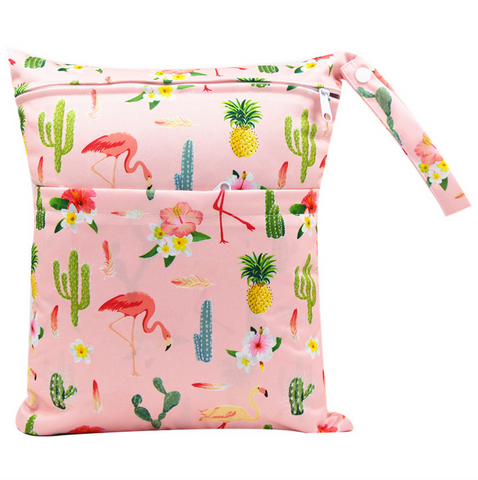 "YiFashion Double Zipper Travel Wetbag ""Flamingo Cactus"""