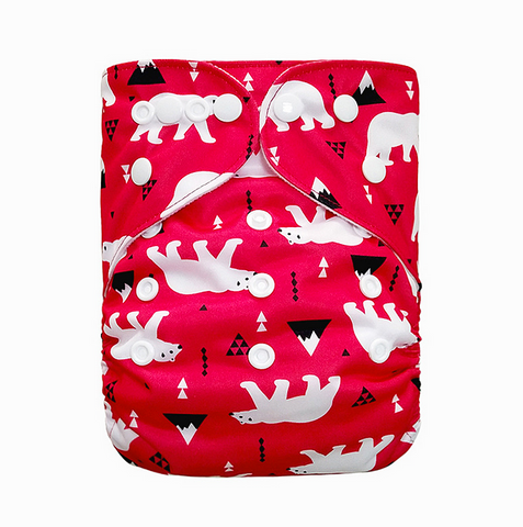 "YiFashion Pocket  ""Polar Bears on Red"""