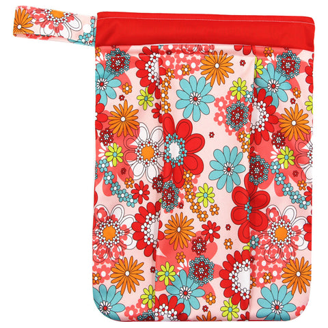 "YiFashion Double Zipper Travel Wetbag ""Neon Pink Flowers"""