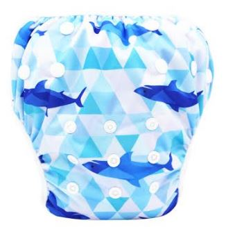 "YiFashion Swim Diaper ""Geometric Sharks"""