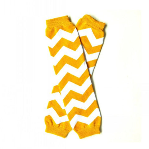 "Baby Leg Warmers ""Yellow/White Chevron"""