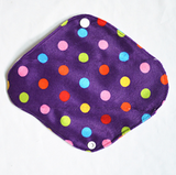 "Cloth Pad Bamboo 8"" Liner ""Minky Purple Dot"""