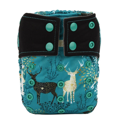 "Sigzagor Newborn Charcoal All In One ""Deer on Teal"""