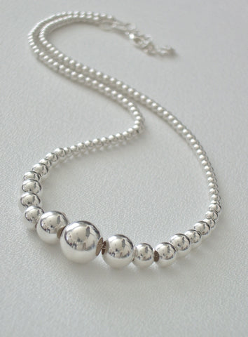 Sterling Silver Graduated Bead Necklace - Jemel