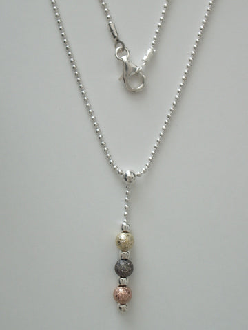 .925 Sterling Silver 1.5 mm Bead Chain with a Triple Metal Foil Bead Pendant