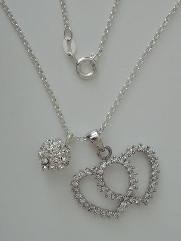 Sterling Silver Cable Chain & CZ Enhanced Sterling Double Heart and Ball Pendants