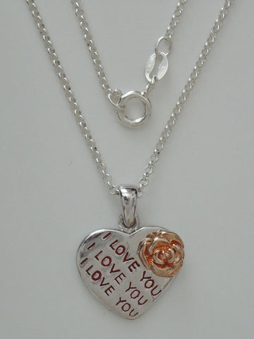 "Sterling Silver ""I Love You"" Pendant w/ Sterling Silver Cable Chain"