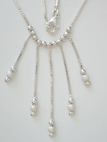 Sterling Silver 1 mm Box Chain w Dangle Silver and Silver Foil Beads - Jemel