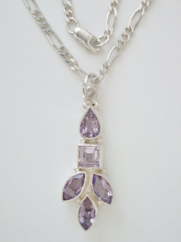 Sterling Silver Faceted Amethyst Leaf Pendant w/ Sterling Silver Figaro Chain