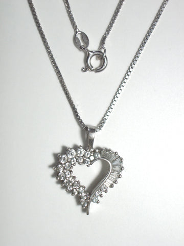 "CZ Enhanced Sterling Silver Heart Pendant w/ 18"" 0.8 mm Sterling Silver Box Chain - Jemel"