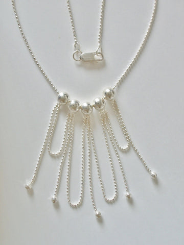 Sterling Silver Faceted Bead Chain w/ Hanging Beads and Loops