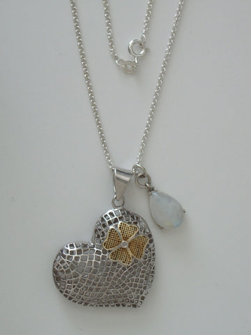 "Sterling Silver Mesh Heart and Blue Moonstone Teardrop Pendants w/ 18"" 1.7 mm SS Cable Chain - Jemel"