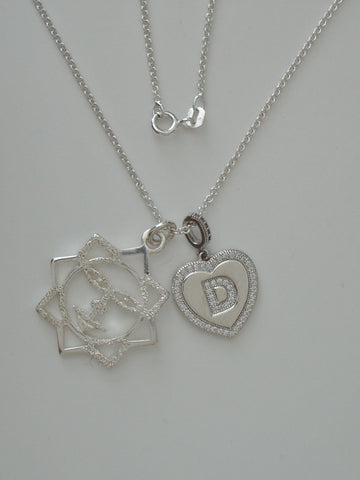 Sterling Silver Sun Face and D-heart Pendants w/ Sterling Silver Cable Chain