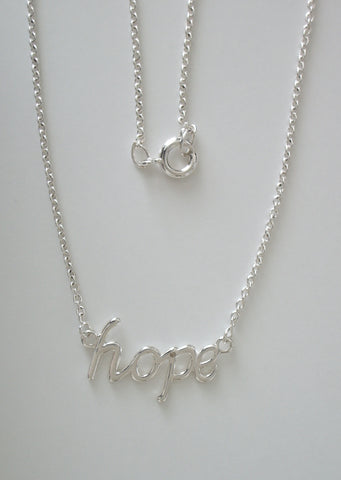 Sterling Silver Hope Pendant w/Sterling Silver Cable Chain