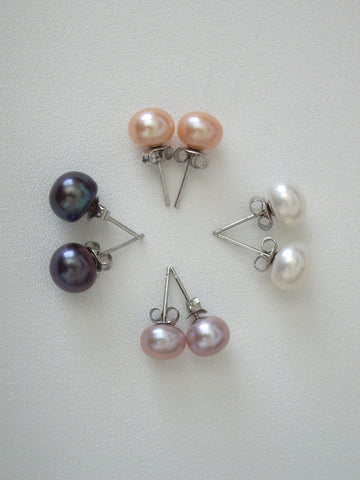 Cultured Freshwater Pearl Earrings - 7 to 8mm Pearls, Various Color Choices - Jemel