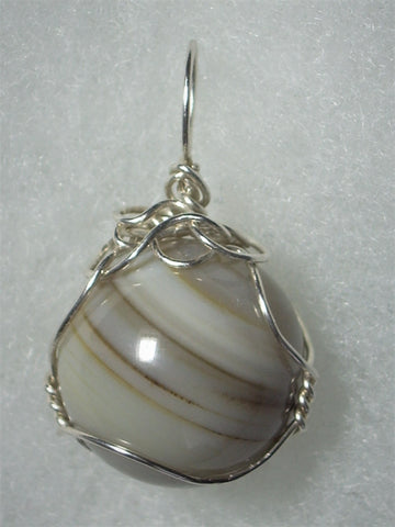 Agate Ball Sphere Marble Pendant Wire Wrapped .925 Sterling Silver - Jemel