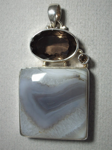 Agate and Smoky Quartz Sterling Silver Bezel Pendant - Jemel