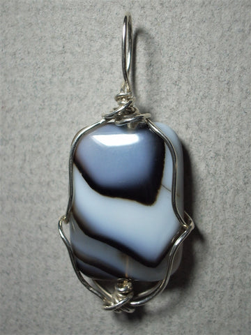Black Lace Agate Bead Pendant Wire Wrapped .925 Sterling Silver - Jemel