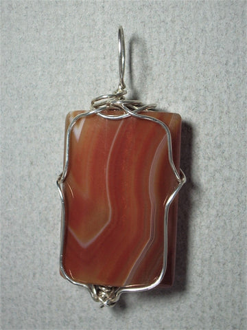 Brazillian Agate Bead Pendant Wire Wrapped .925 Sterling Silver - Jemel
