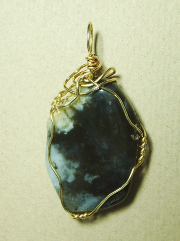Cloud Agate Pendant Wire Wrapped 14/20 Gold-filled