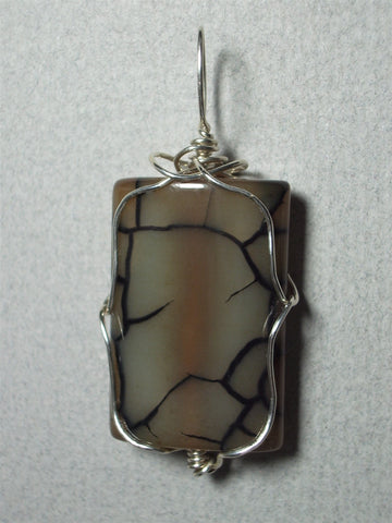 Dragon Vein Agate Bead Pendant Wire Wrapped .925 Sterling Silver - Jemel
