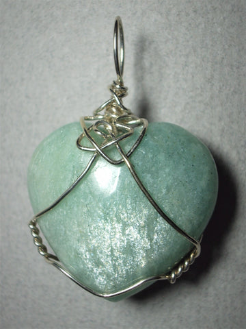 Amazonite Heart Pendant Wire Wrapped .925 Sterling Silver