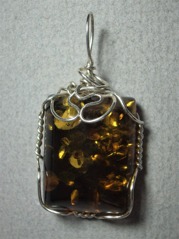 Baltic Amber Pendant Wire Wrapped .925 Sterling Silver - Jemel
