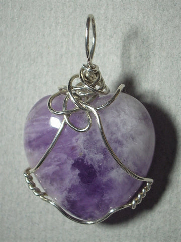 Amethyst Heart Pendant Wire Wrapped .925 Sterling Silver - Jemel