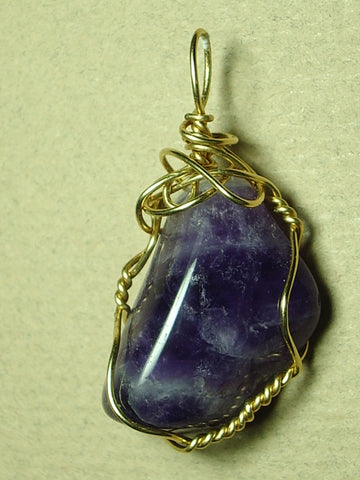 Amethyst Pendant Wire Wrapped 14K Gold Filled - Jemel