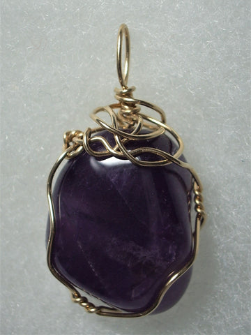 Amethyst Pendant Wire Wrapped 14k/20 Gold Filled - Jemel