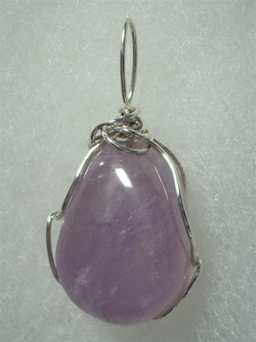 Amethyst Bead Pendant Wire Wrapped .925 Sterling Silver - Jemel