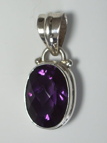 Amethyst Cushion Faceted Oval in .925 Sterling Silver Bezel Pendant - Jemel