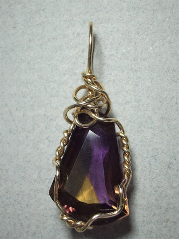 Faceted Ametrine Pendant Wire Wrapped Solid 14K Yellow Gold - Jemel
