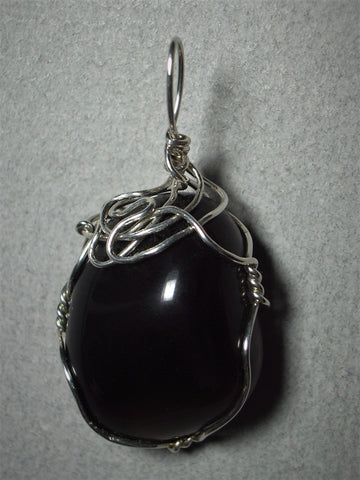 Apache Tear Pendant Wire Wrapped .925 Sterling Silver - Jemel