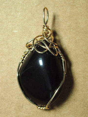 Apache Tear Pendant Wire Wrapped 14/20 Gold Filled